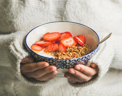bowl of strawberry and oats