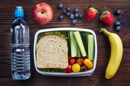 packed healthy meal with fruits