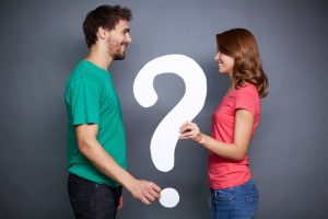 couple asking questions, question mark, previous partner count