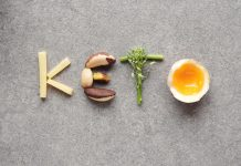keto spelled out with food