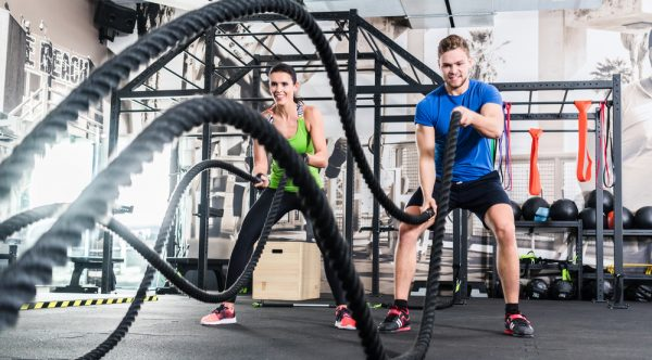 battle ropes couple workout
